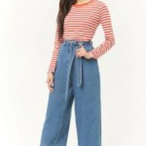 Forever 21 Wide Leg Ankle Denim Jeans with Tie L